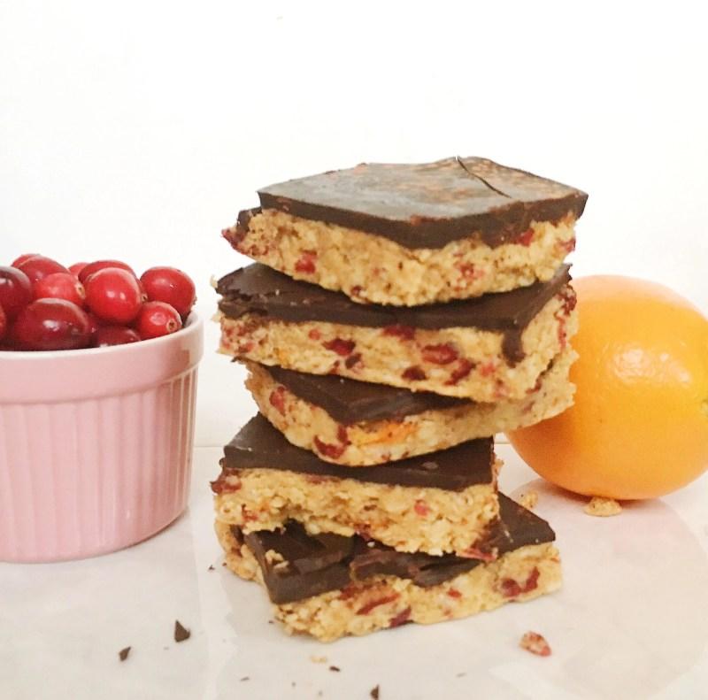 No Bake Chocolate covered orange cranberry bars