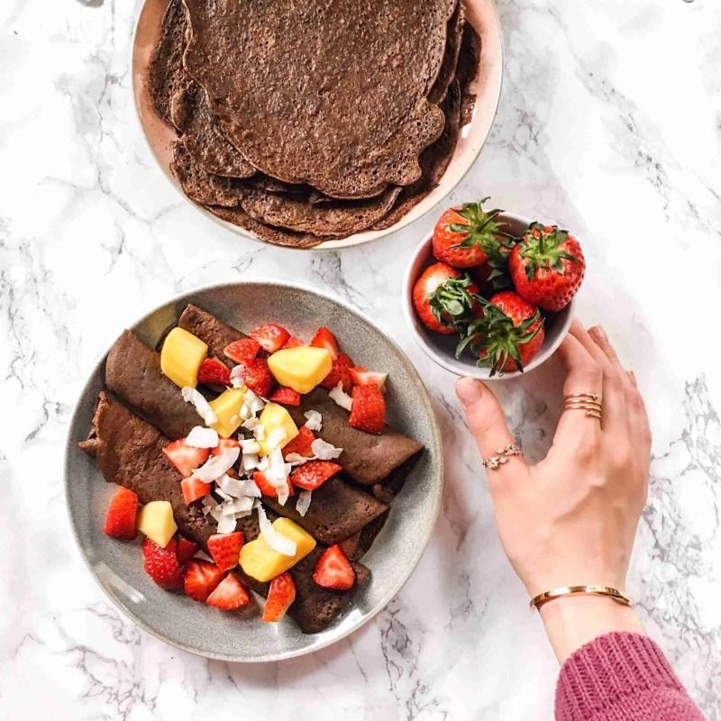Vegan Chocolate Crepes Recipe - Healthy + Gluten free