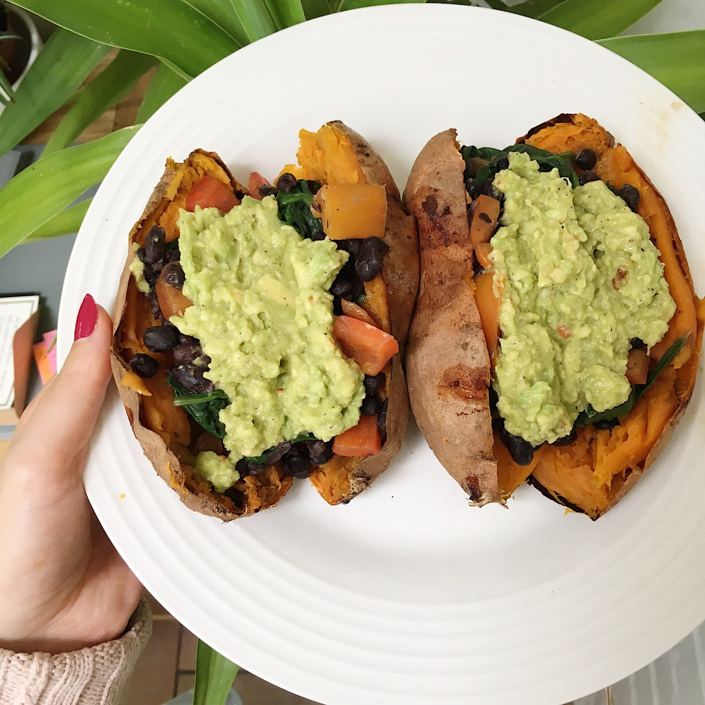 Recipe: Baked Sweet Potato with Avocado Mash and Black Beans