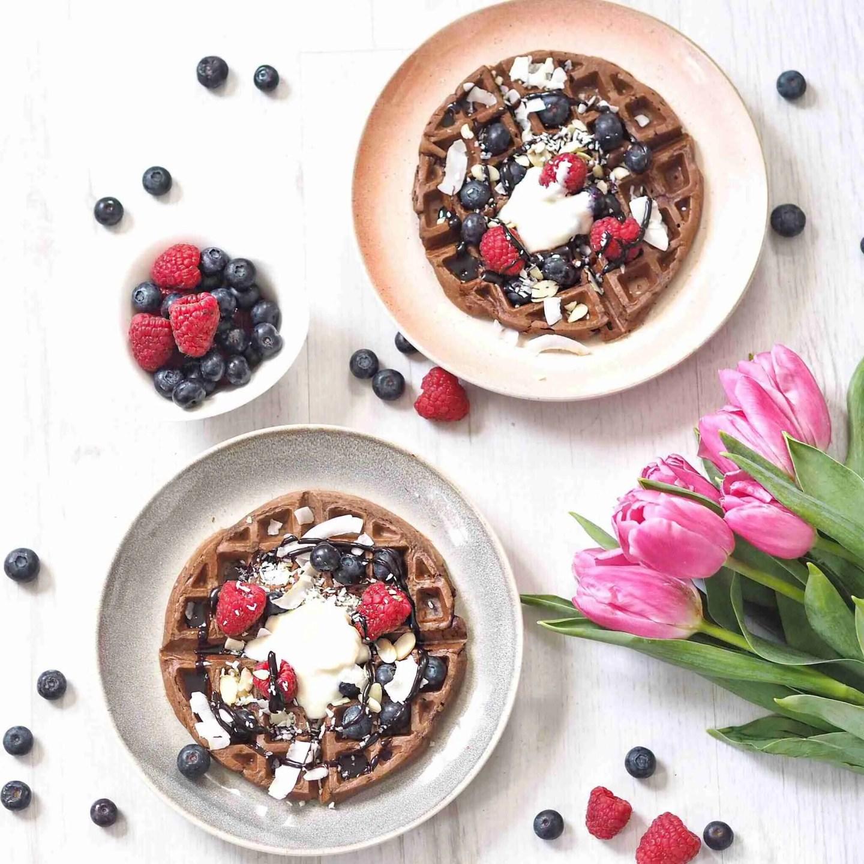 Four Ingredient Healthy Chocolate Vegan Waffles