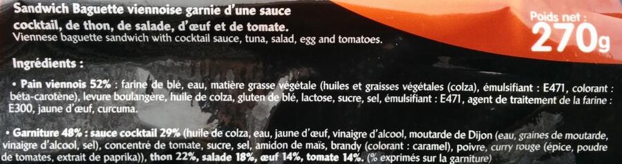 Ingrédients sandwich ultra transformé