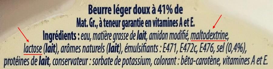 Liste d'ingrédients beurre léger