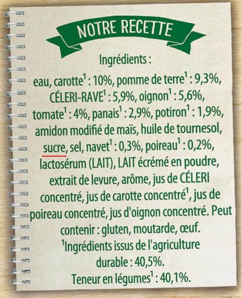 Ingrédients d'une soupe de légume industriels