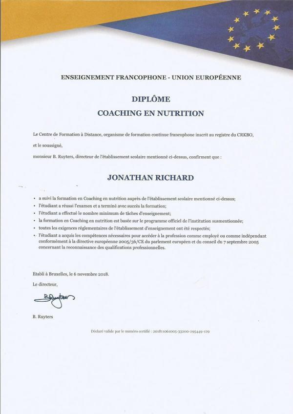 Diplôme coach en nutrition