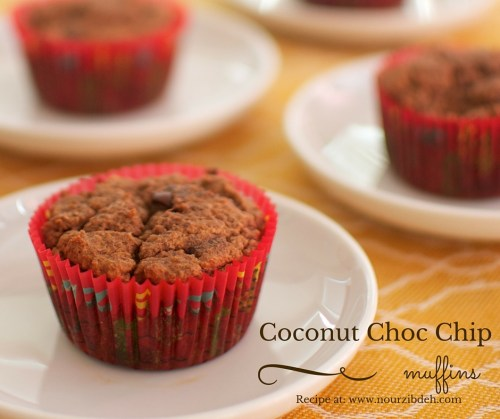 Coconut choc chip muffins