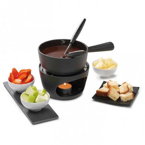 service a fondue chocolat et fromage 1 fourchette noir inox