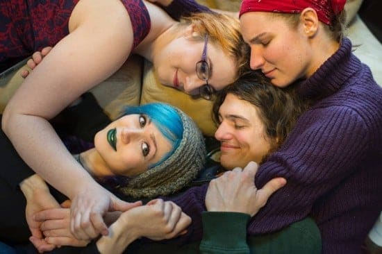 DERWOOD, MD -- JANUARY 20: From top left clockwise, Rachel Ruvinsky, 22; Sam Brehm, 21; Bennett Marschner, 26; and Hannah Schott, 22; pose for a photograph in Derwood, Maryland, on Wednesday, January 20, 2016. The group of friends carry on multiple relationships simultaneously. (Photo by Nikki Kahn/The Washington Post)