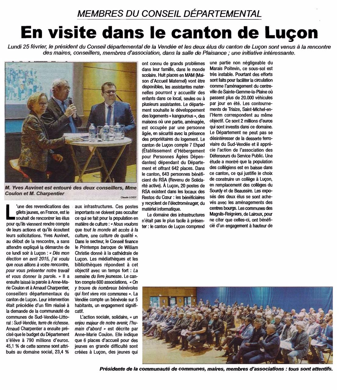 Les élus du Département en visite dans le canton de Luçon