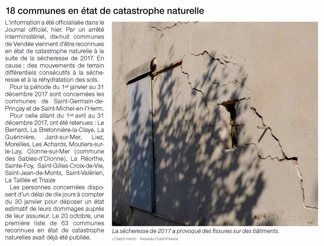 18 communes en état de catastrophe naturelle