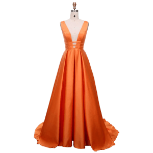 Satin Long Dress - Orange Tiger - 21 Colors