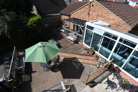 A view from above of the decking at Nova House