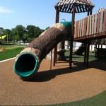log tube slide at Chessie's Big Back Yard