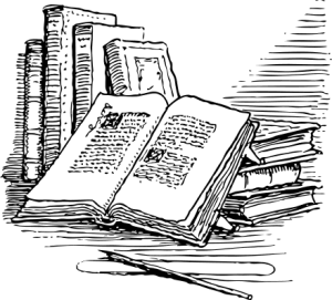 books-bw-clipart