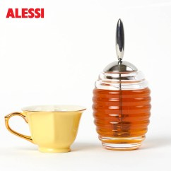Dispenser Kitchen Stainless Faucet Alessi Glass Honey Pot W/stainless Steel Dipper ...