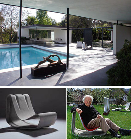 Willy Guhl Loop Chair Modern Concrete Outdoor Garden