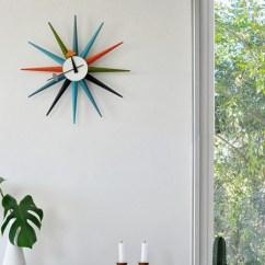 Wooden Kitchen Clock Bar Table For Sunburst Multi Colour | Nova68.com