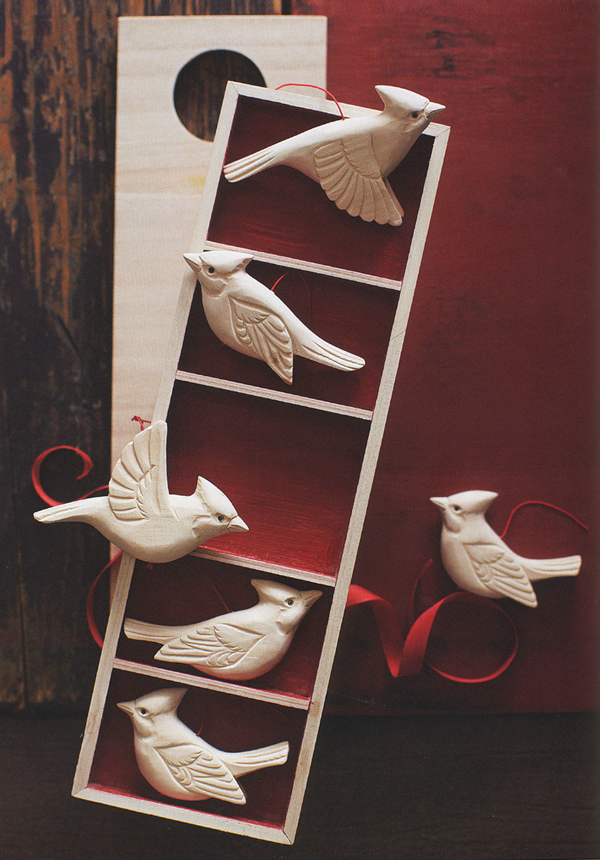 Wooden Cardinal Birds Christmas Tree Ornaments Set Of 5