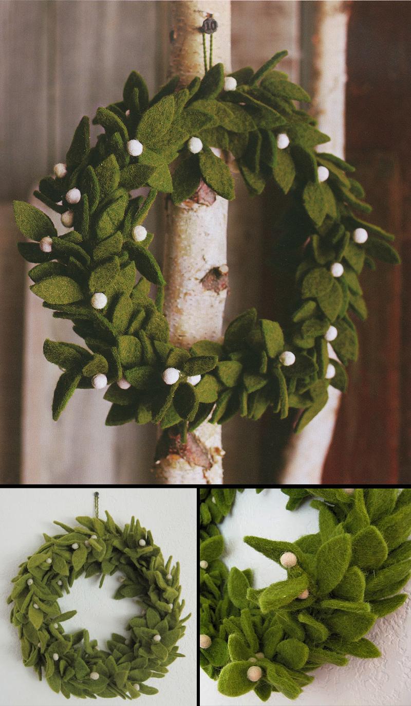 Green Felt Wreath with Mistletoe Accents  Felt Christmas