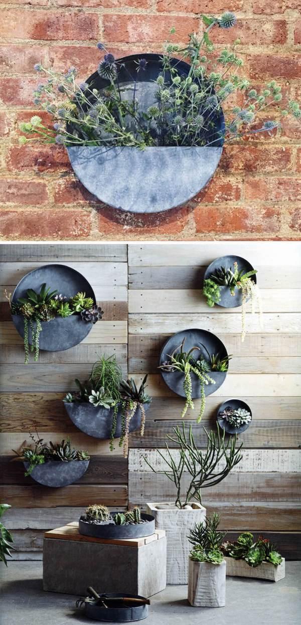 Round Galvanized Hanging Wall Planter