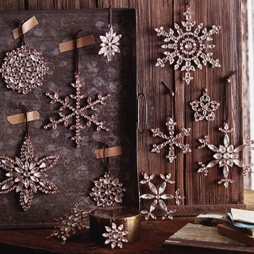Victorian Rhinestone Snowflake Tree Ornaments Set4