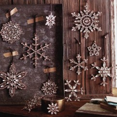 Kitchen Tables & More Contemporary Cabinets Victorian Rhinestone Snowflake Tree Ornaments. Set/4 ...