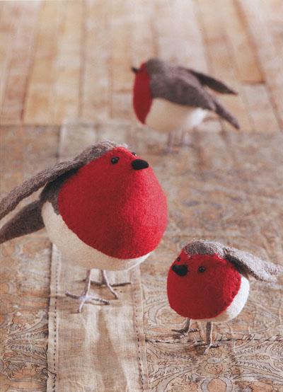 American Robin Birds Felt Ornaments Holiday Decor Set Of 3