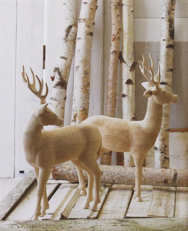 Sculptural Wooden Deer Sculpture Young Standing Fallow Buck Nova68 Modern Design