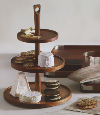 Triple Tiered Wooden Pedestal Food And Cheese Serving Tray