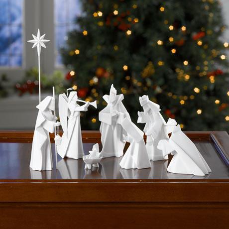 Modern 8Piece Origami Nativity Manger in White Porcelain