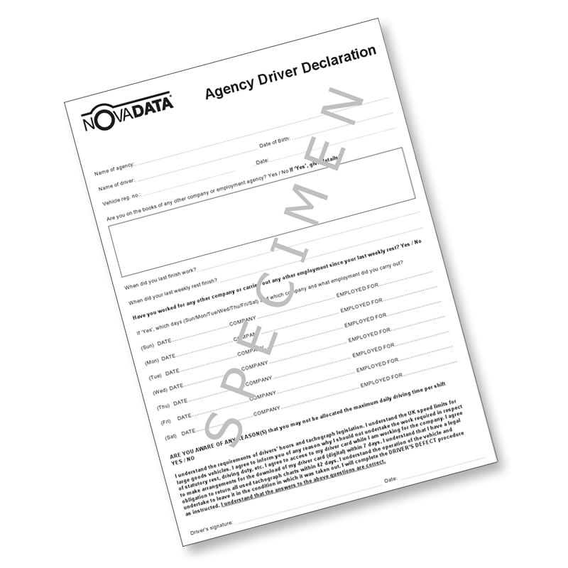 Agency Driver Declaration Sheets