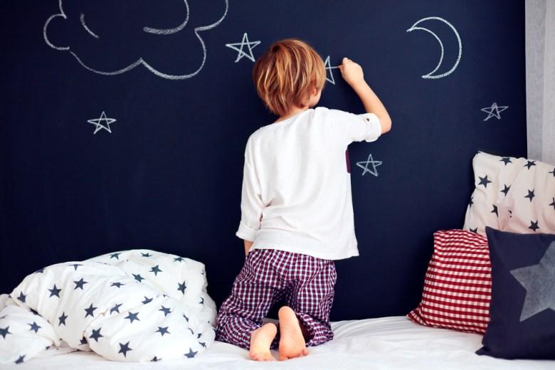 ściana-tablica w pokoju