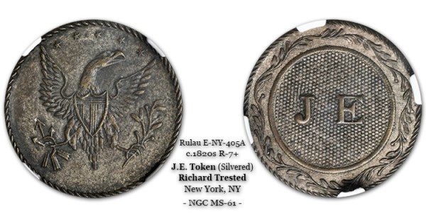 J.E. Token Silvered over Brass