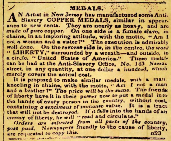 November 23rd 1837 notice in The Emancipator