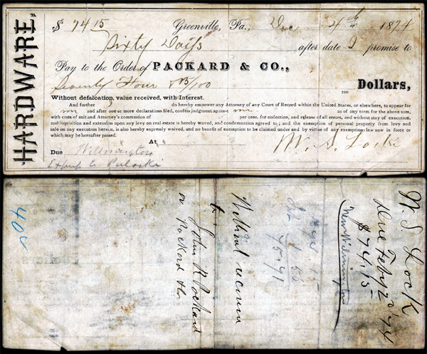 Packard & Co Hardware West Greenville PA Draft Check John R. Packard Signature