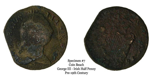 Specimen 7 is by far the most intact specimen. 'GEORGIVS III' is readily identifiable on the obverse, and the Irish harp is easily spotted on the reverse. Moreover, the date on the specimen can be identified as 1781. It is plausible that it is regal, given that regal Irish half pennies were struck in 1781. That said, it is unclear definitively if the specimen is regal or a contemporary counterfeit.