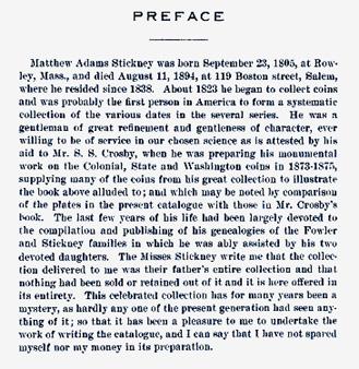 Matthew Stickney Auction Preface - Lewis Feuchtwanger