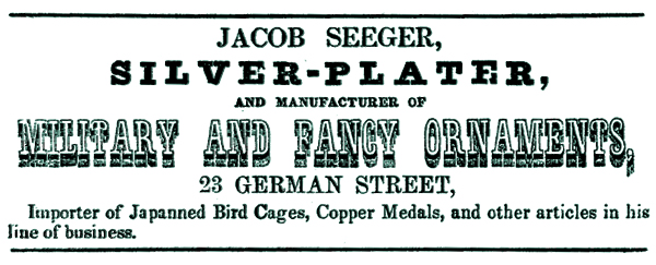 "John ""Jacob"" Seeger Business Directory Listing - 1856-1857"