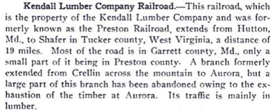 Kendal Lumber Company Railroad
