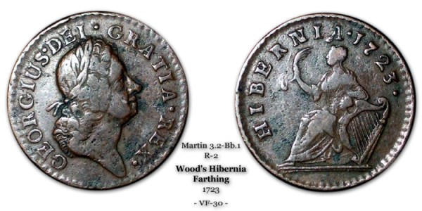 1723 Wood's Hibernia Farthing - Martin 3.2-Bb.1