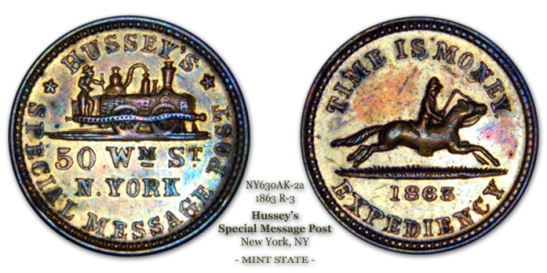 NY630AK-2a, Hussey's Special Message Post, New York City 1863