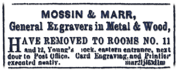 Mossin & Marr General Engravers in Metal and Wood
