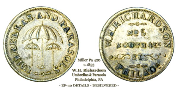 Miller Pa-420 circa 1853 W.H. Richardson Umbrellas & Parasols No 5 South 4th St Philadelphia Pa
