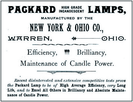 Packard Electric Company - High Grade Incandescent Lamps