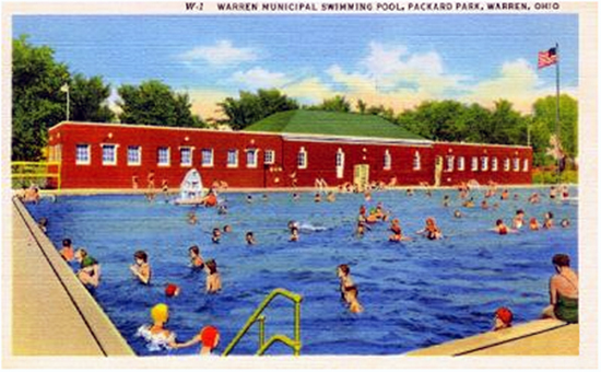 Warren Municipal Swimming Pool, Packard Park, Warren Ohio