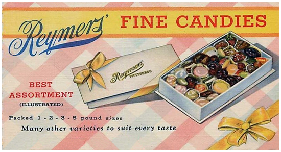Reymers' Fine Candies Best Assortment Illustrated Packed 1-2-3-5 pound sizes