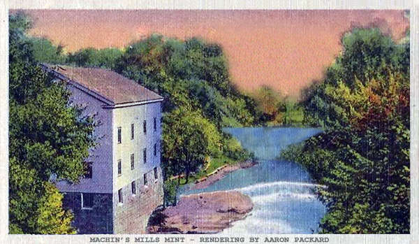 Rendering of Machin's Mills mint, by Aaron Packard
