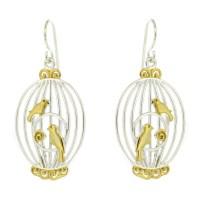 Nova Silver Birds in a Cage Earrings