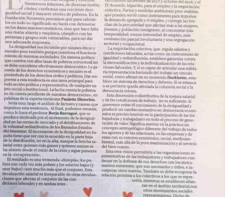 Joan Sifre: «Tiempos de desigualdad, tiempos de solidaridad activa»