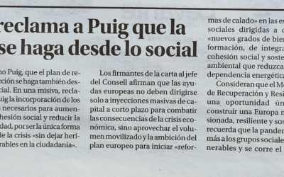 Novaterra pide a Ximo Puig que la reconstrucción se haga desde lo social