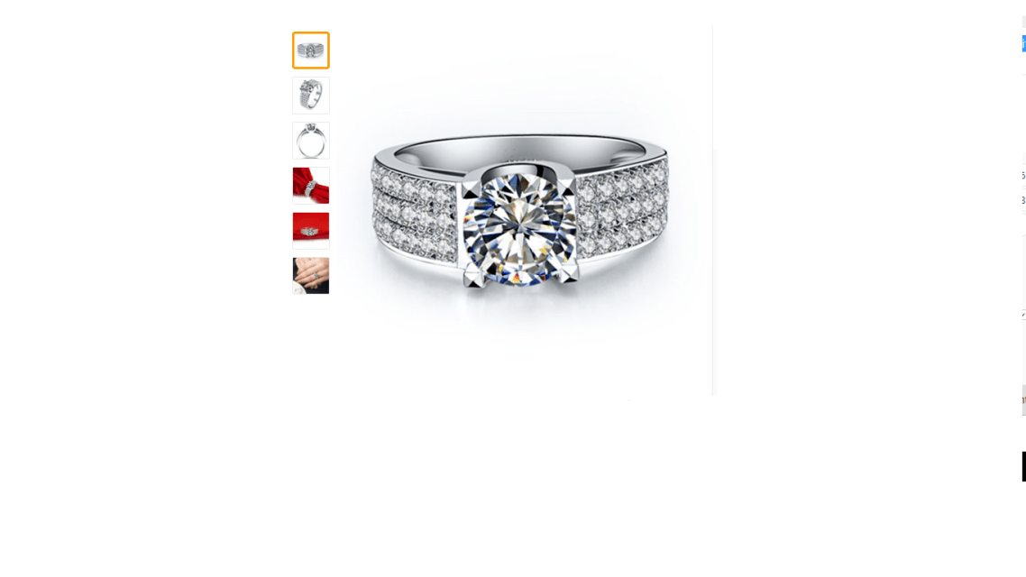 Beautiful Engagement Ring Womens Real 14K White Gold Lab